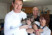 Danny, Philip and Covi with kittens.